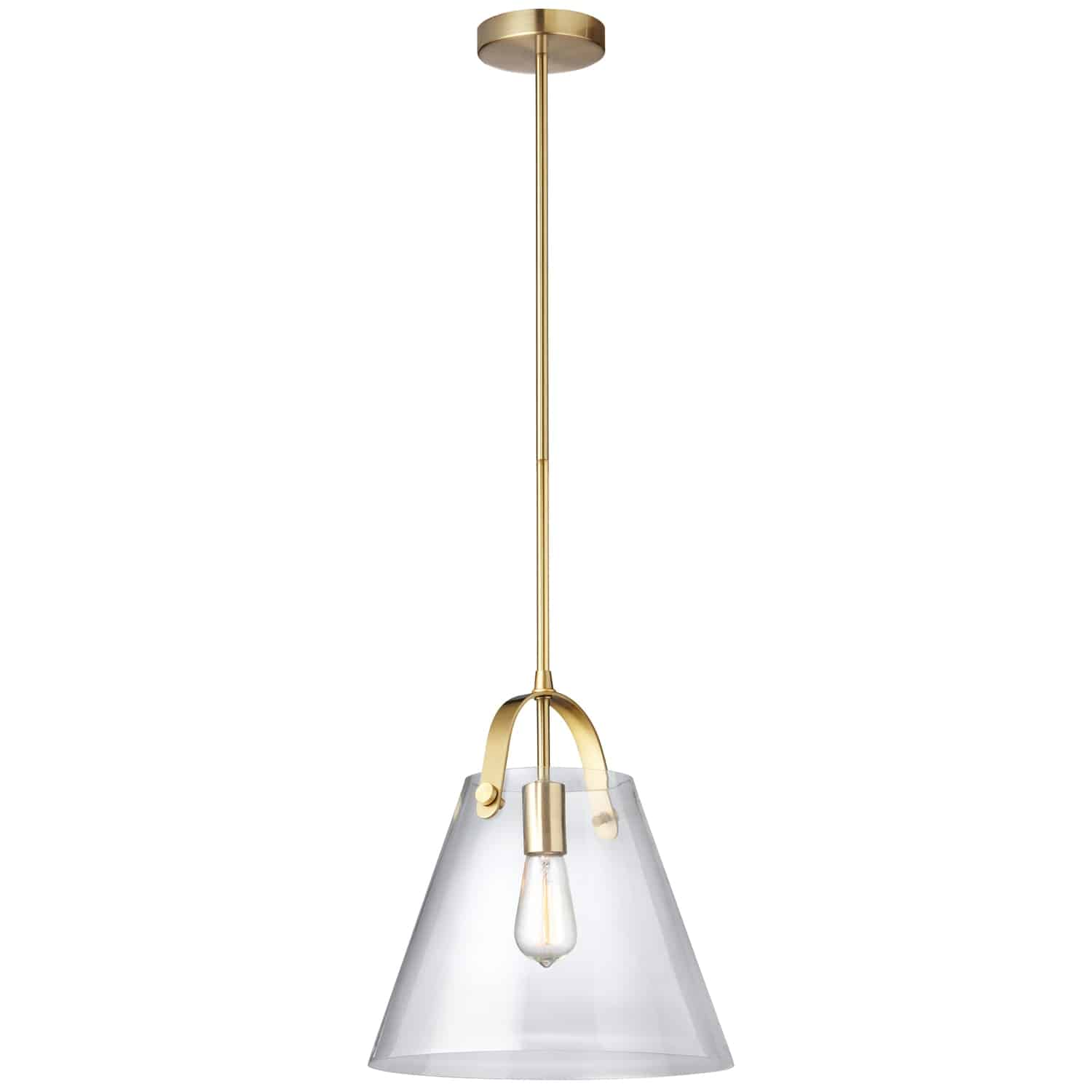 1 Light Incandescent Pendant Aged Brass Finish with Clear Glass