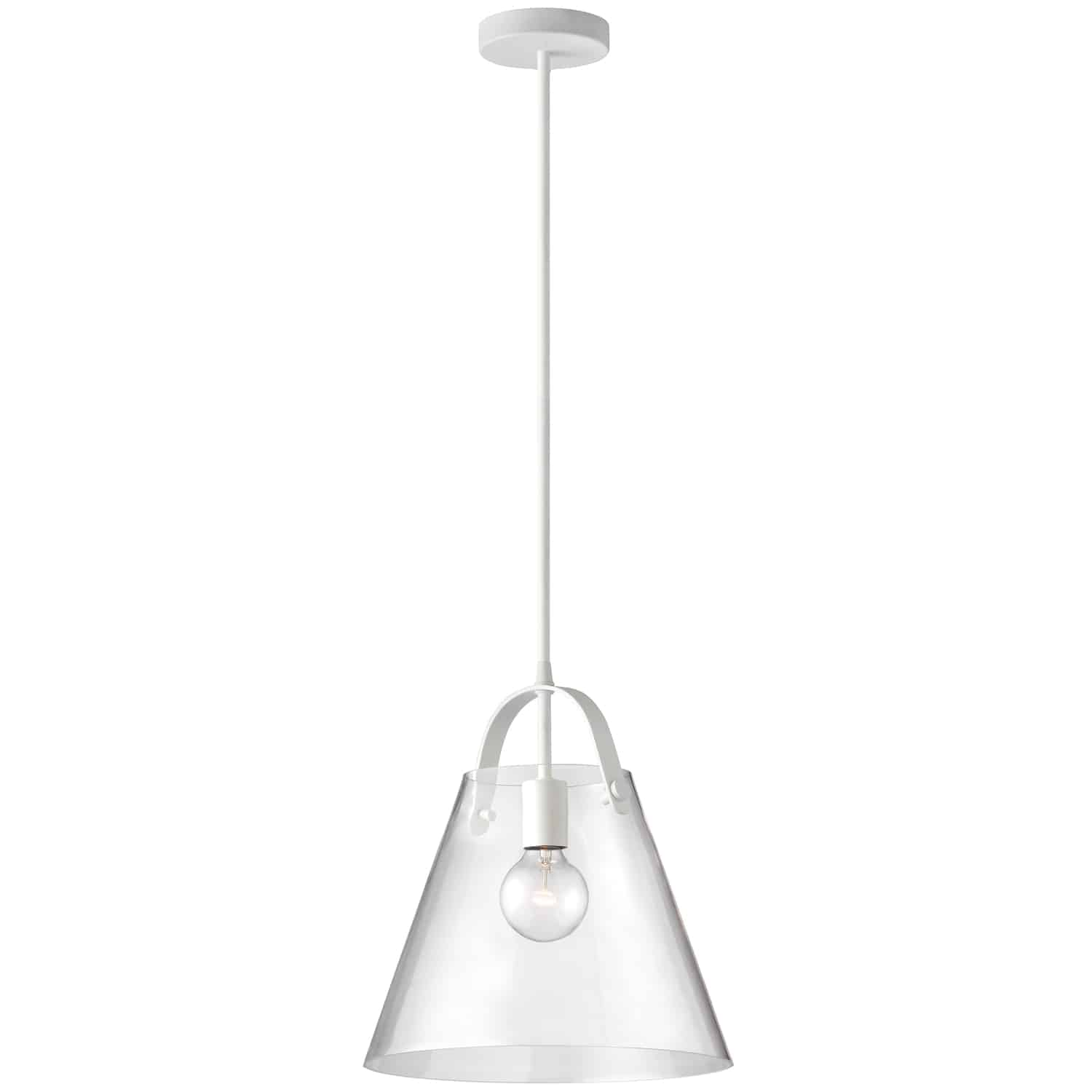 1 Light Incandescent Pendant Matte White Finish with Clear Glass