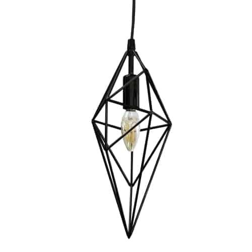 1 Light Incandescent Pendant, Black Finish