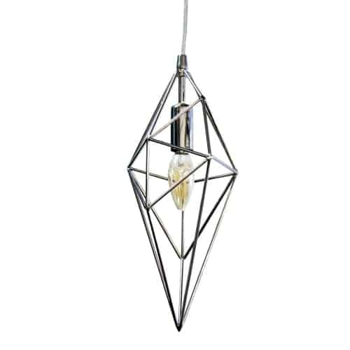 1 Light Incandescent Pendant, Polished Chrome Finish