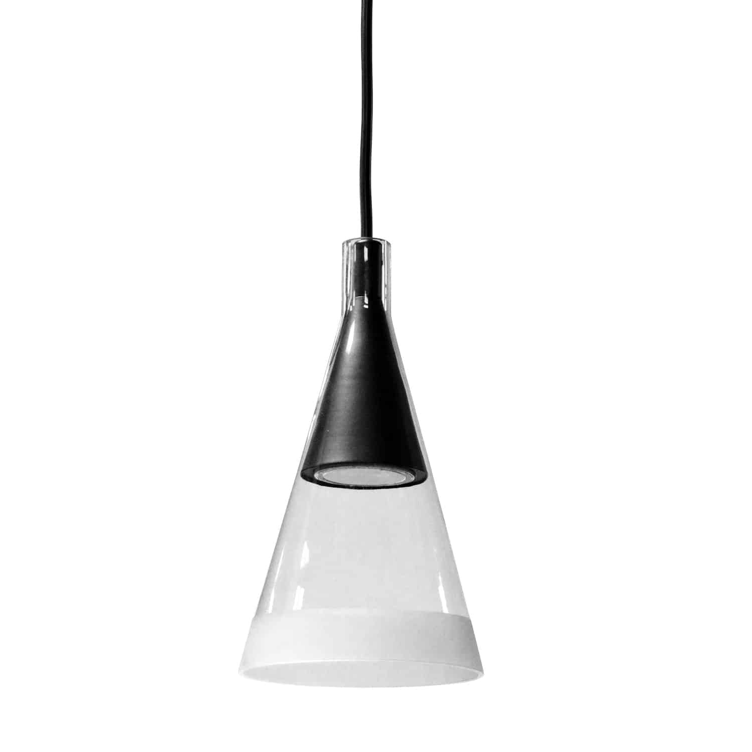 1 Light Halogen Pendant Matte Black Finish with Clear and Frosted Trim Glass