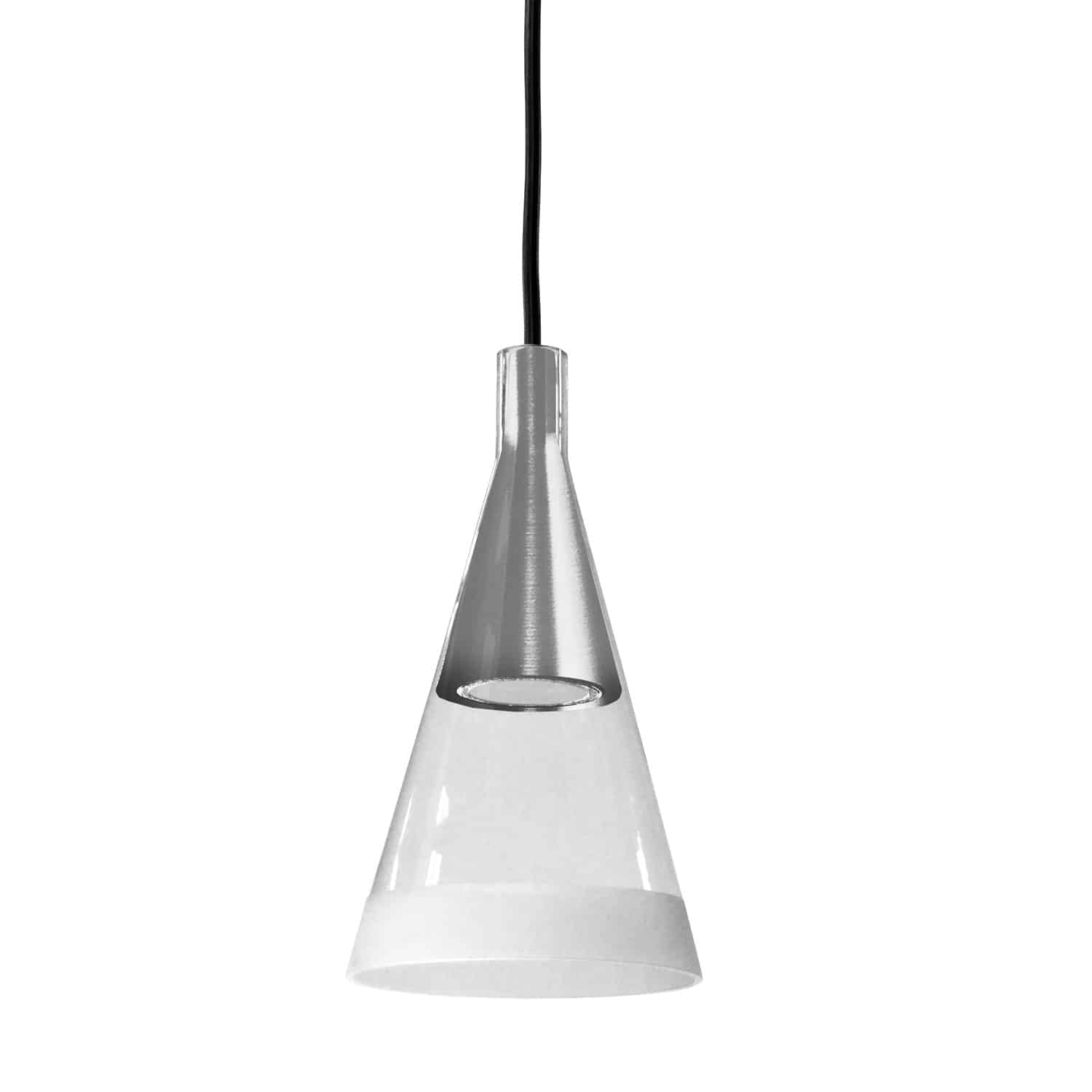 1 Light Halogen Pendant Polished Chrome Finish with Clear and Frosted Trim Glass