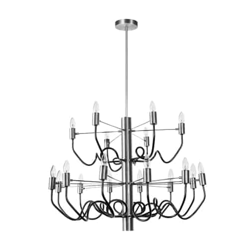 18 Light Chandelier, Satin Chrome Finish with Matte Black Twisted Arms