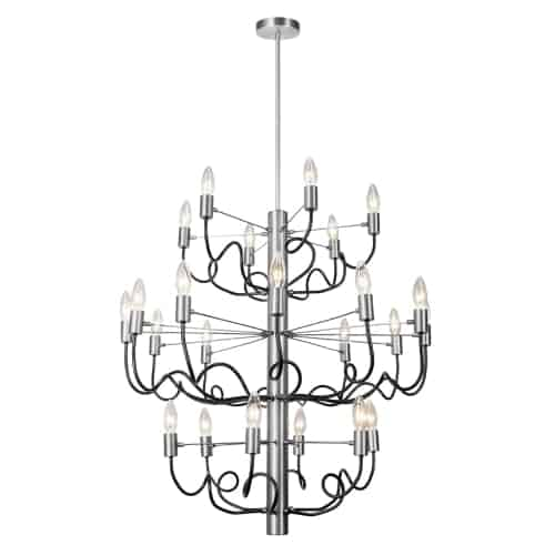 24 Light Chandelier, Satin Chrome Finish with Matte Black Twisted Arms