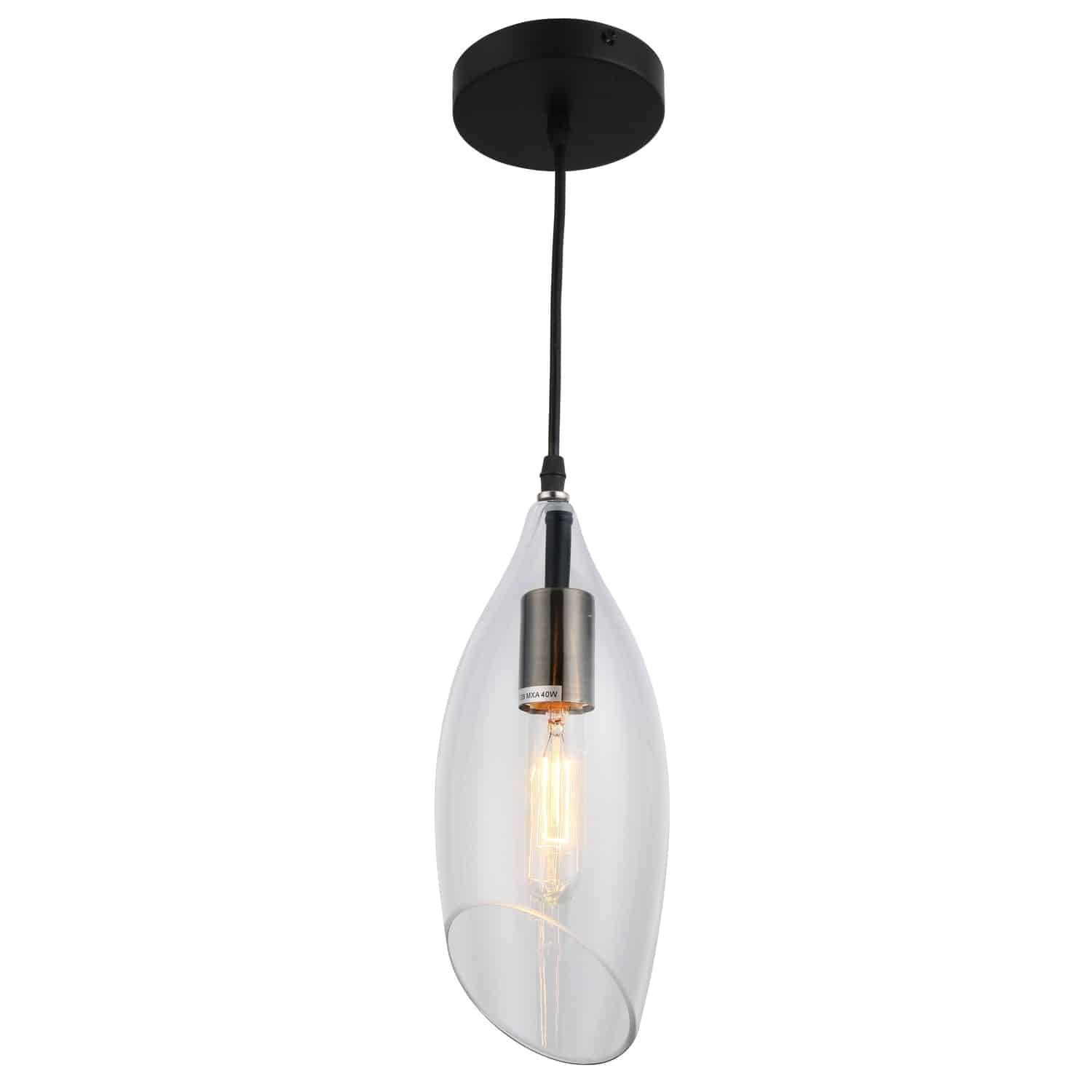 1 Light Incandescent Pendant, Black Finish with Clear Glass