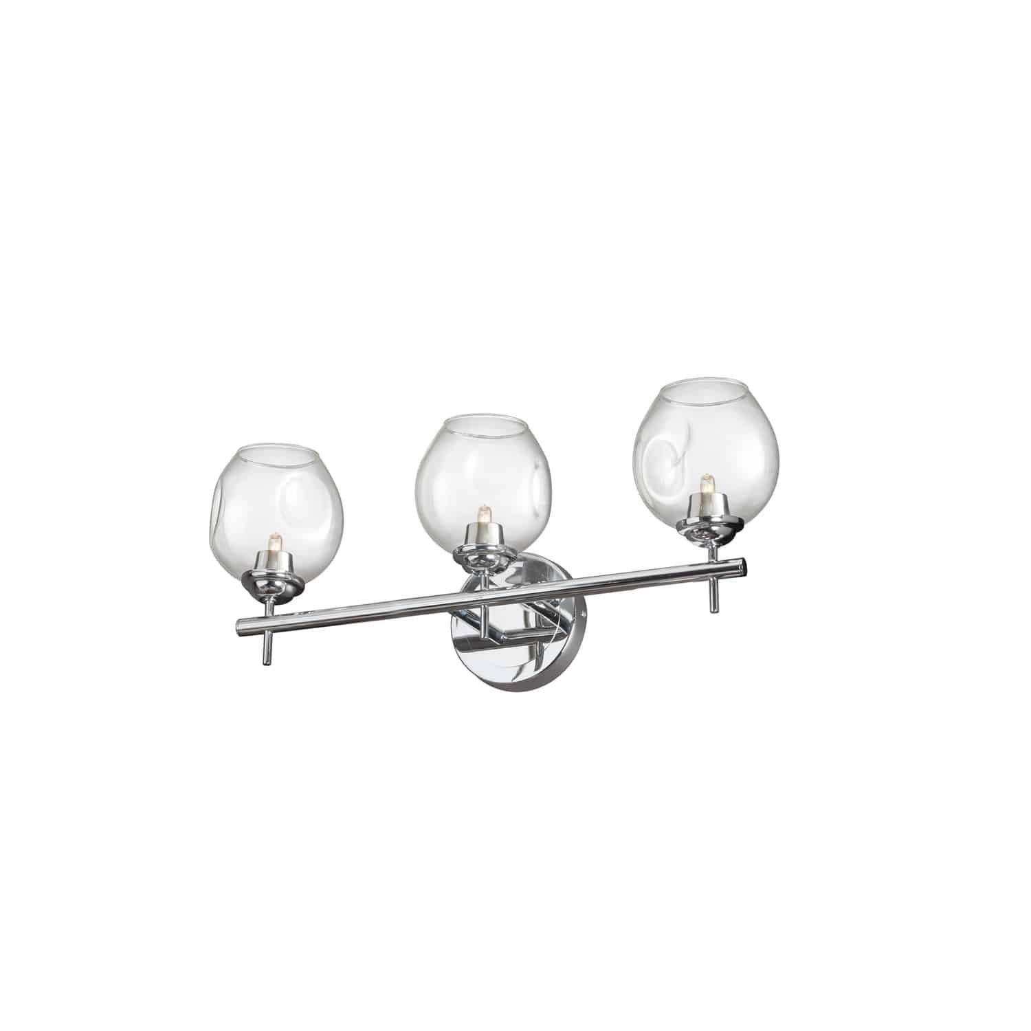 3 Light Halogen Vanity Polished Chrome with Clear Glass