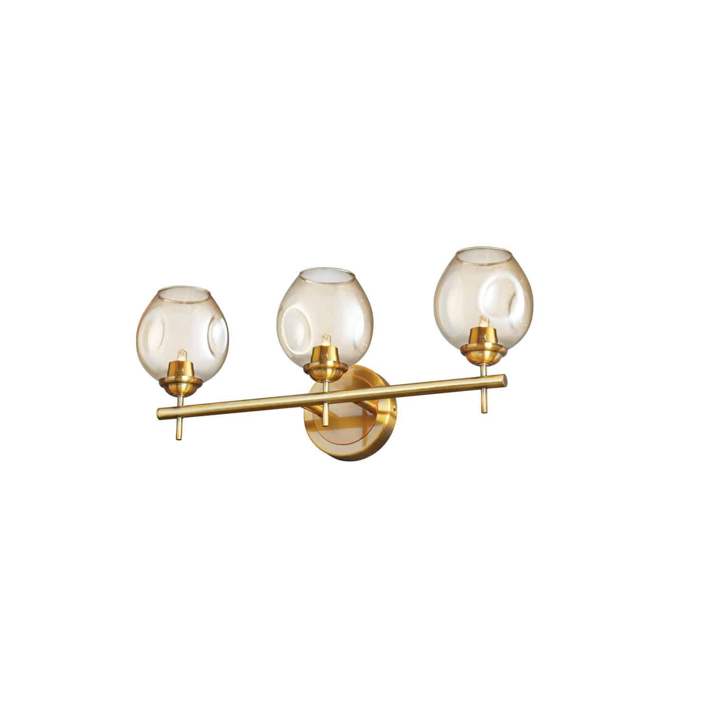 3 Light Halogen Vanity Vintage Bronze with Champagne Glass
