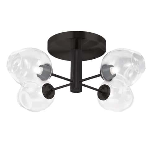 4 Light Halogen Matte Black Semi Flush w/ Clear Glass