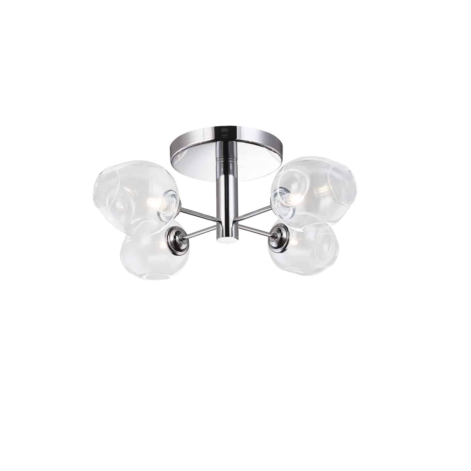 4 Light Halogen Semi Flush, Polished Chrome with Clear Glass