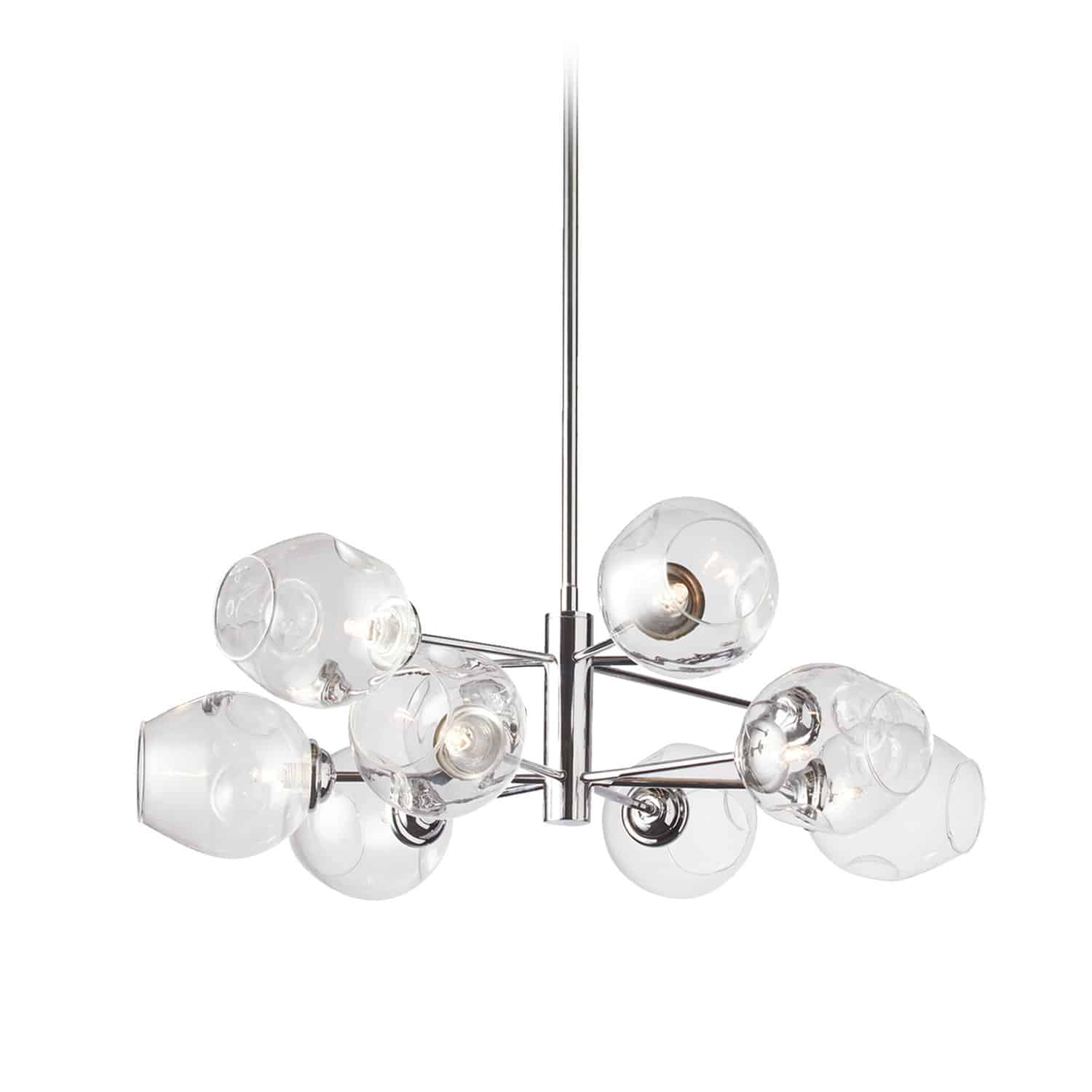 8 Light Pendant, Polished Chrome Finish with Clear Glass