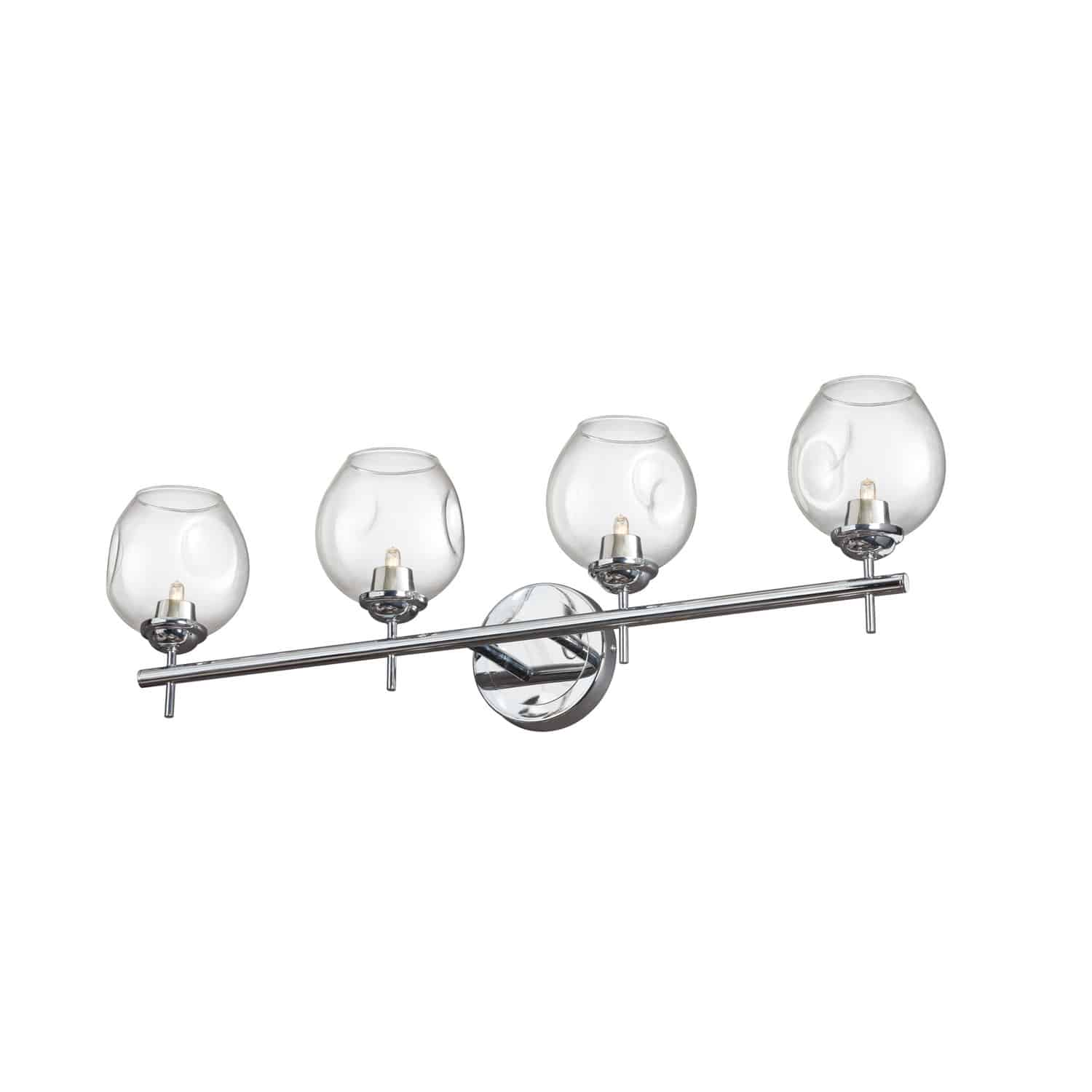 4 Light Halogen Vanity Polished Chrome with Clear Glass