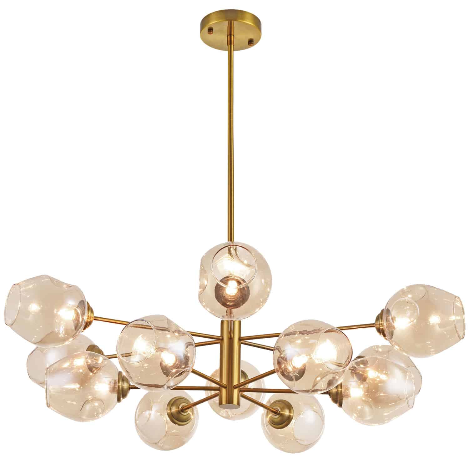 12 Light Pendant, Vintage Bronze Finish with Champagne Glass