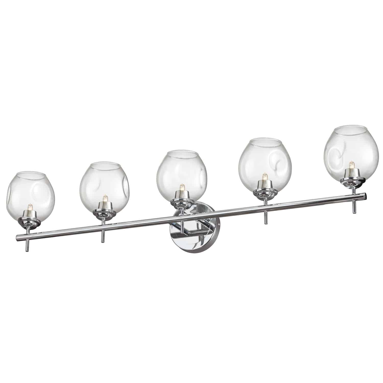 5 Light Halogen Vanity Polished Chrome with Clear Glass