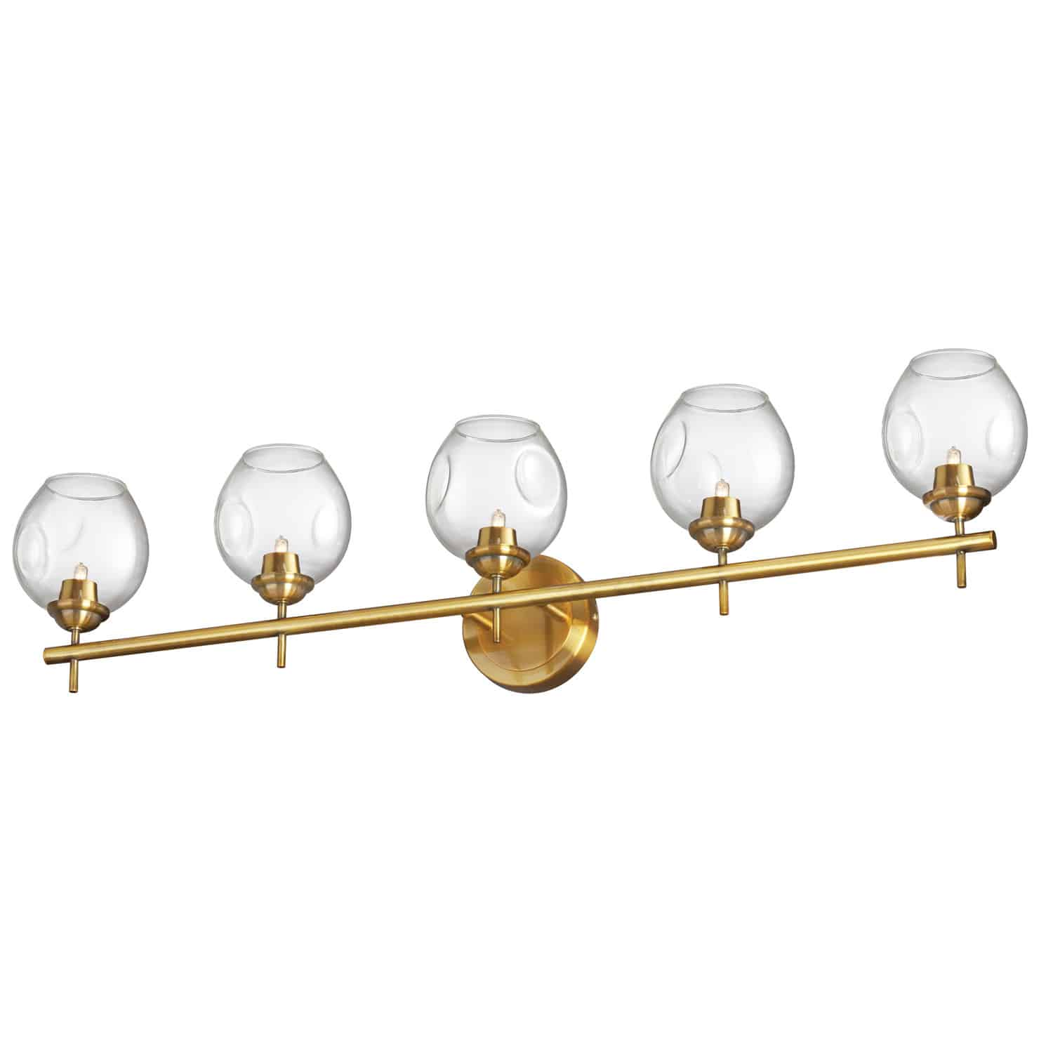 5 Light Halogen Vanity Vintage Bronze with Clear Glass