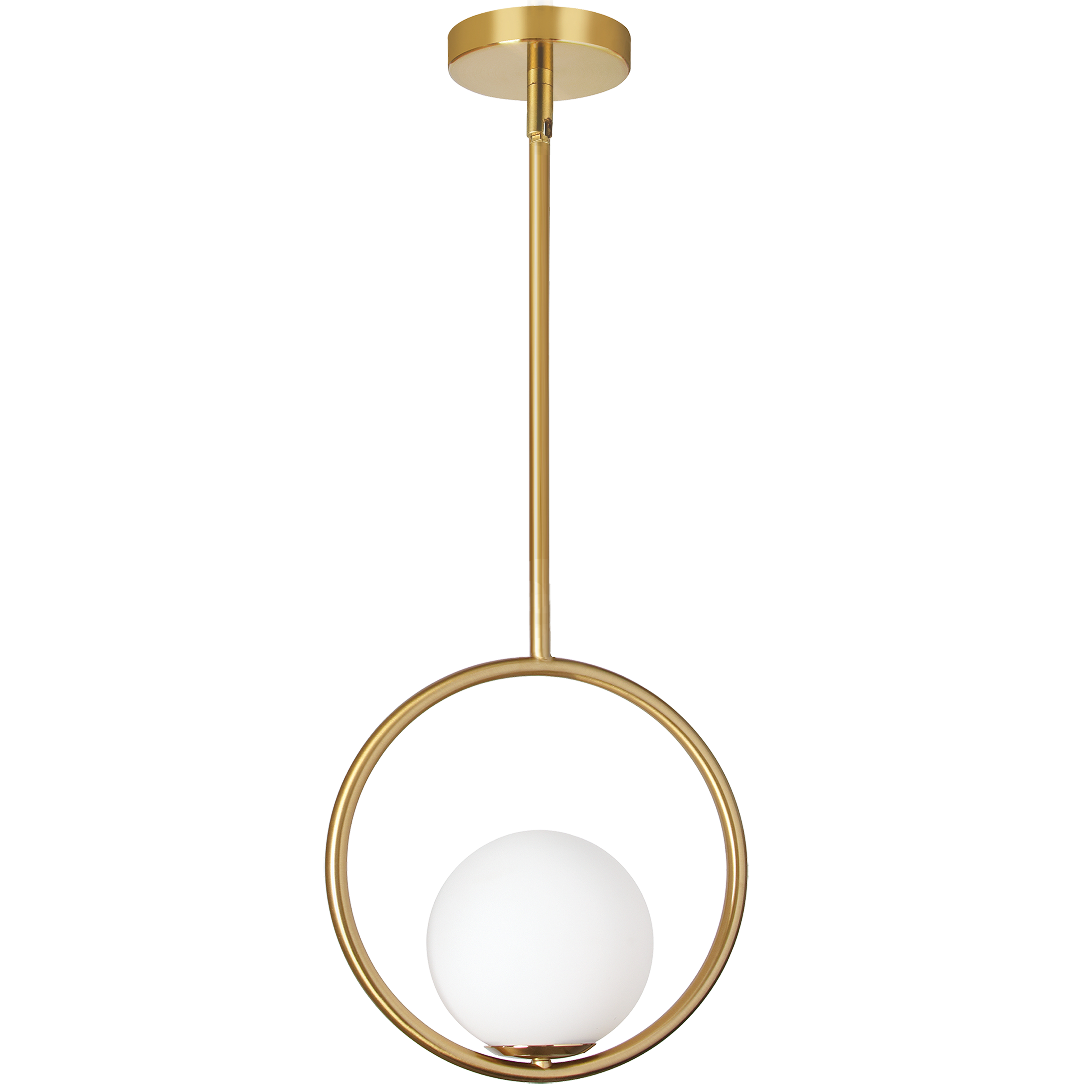 1 Light Halogen Pendant Aged Brass Finish with White Glass