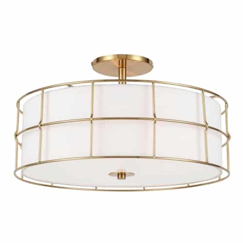 3 Light Incandescent Aged Brass Semi-Flush Mount Fixture w/White Shade
