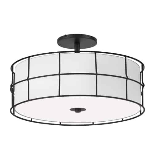 3 Light Incandescent Matte Black Semi-Flush Mount Fixture w/White Shade