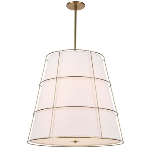 4 Light Incandescent Aged Brass Pendant w/ White Shade