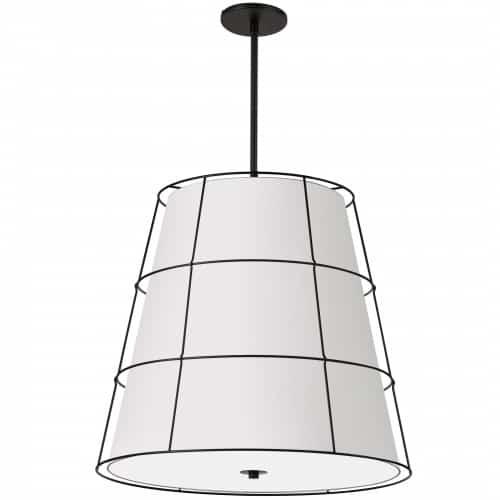 4 Light Incandescent Matte Black Pendant w/ White Shade