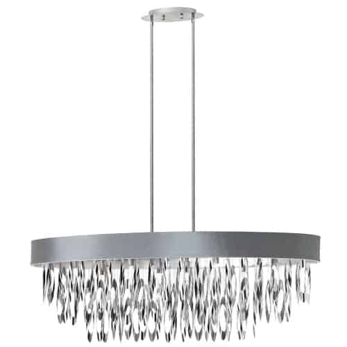 The Allegro line of chandeliers brings a shimmering note of contemporary glamour to your home décor. The design features a graduated drop of polished chrome that contrast with the sleek lines of the rounded or oval shade.  The circular frame is available in adjustable drop versions or flush mounted styles and the shade is available in a range of designer neutral colours with some custom options. Allegro comes in different size configurations designed to create a focal point no matter where you place it in your home, whether it's in a small area or room or to act as the centre of attention in a formal dining or living room setting.