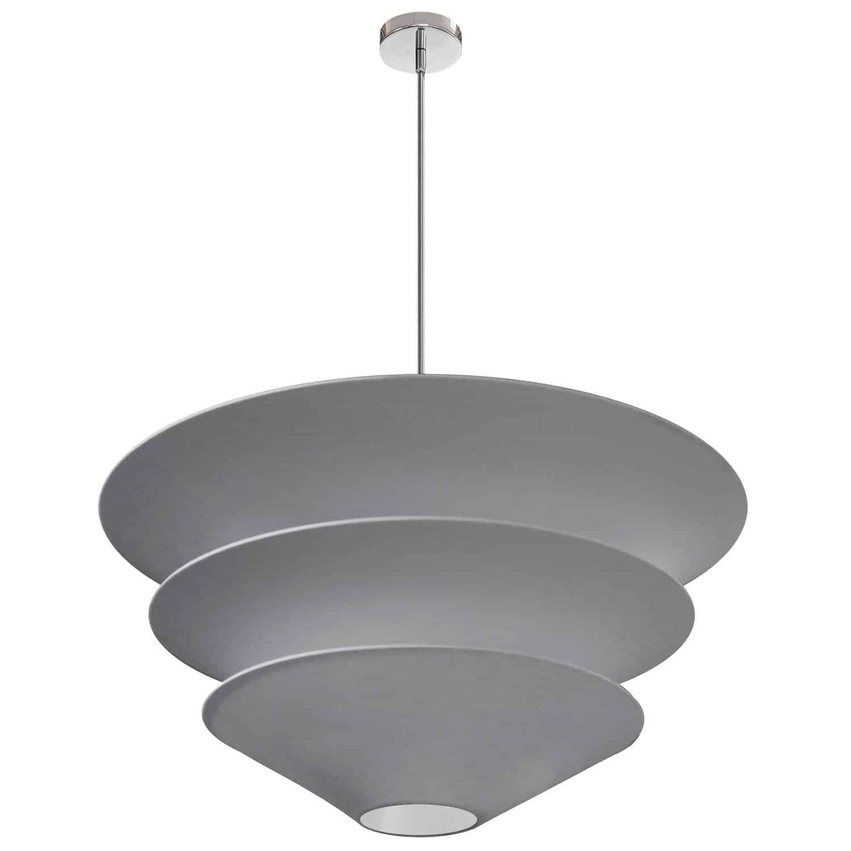 5 Light Alora Pendant Grey Shade, Polished Chrome