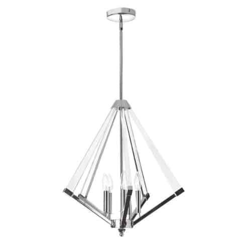 5 Light Chandelier, Polished Chrome Finish with Acrylic Arms