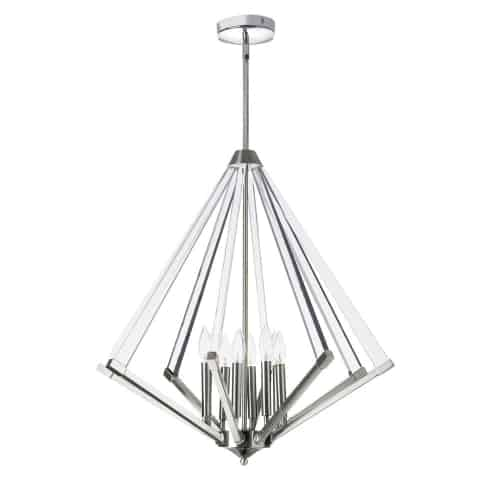 8 Light Chandelier, Polished Chrome  With Acrylic Arms