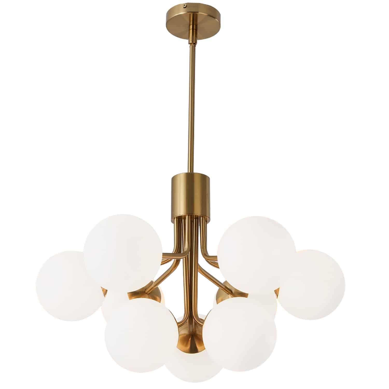 9 Light Halogen Chandelier, Aged Brass with Opal Glass