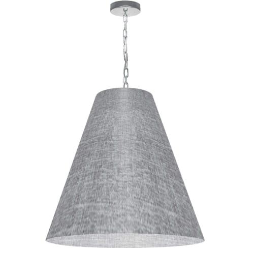 1 Light Large Anaya Polished Chrome Pendant with Grey/Clear Shade