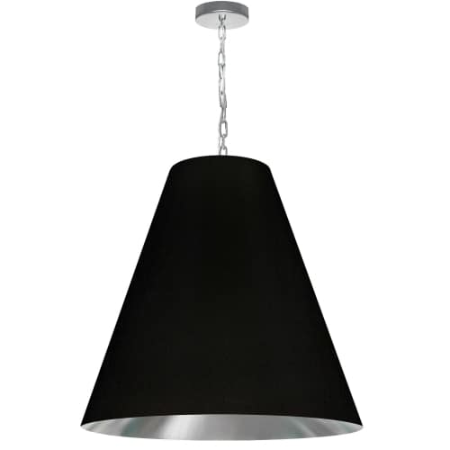1 Light Large Anaya Polished Chrome Pendant with Black/Silver Shade