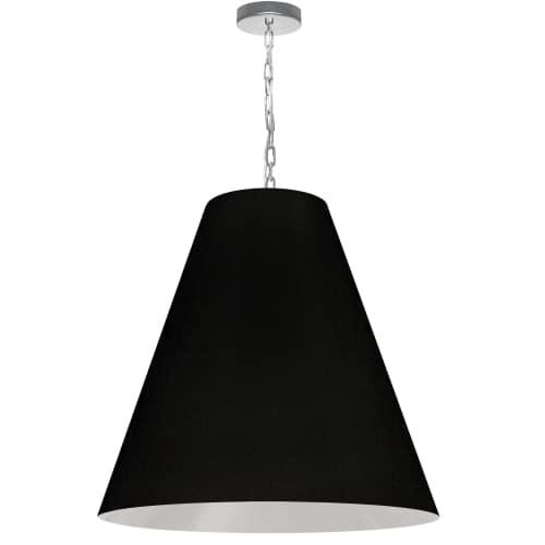 1 Light Large Anaya Polished Chrome Pendant w/ Black Shade