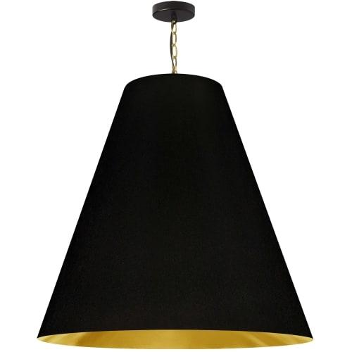 1 Light X-Large Anaya Aged Brass Pendant with Black/Gold Shade
