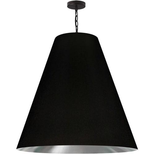 1 Light X-Large Anaya Matte Black Pendant with Black/Silver Shade
