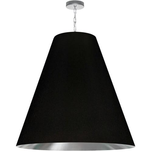 1 Light X-Large Anaya Polished Chrome Pendant w/ Black/Silver Shade