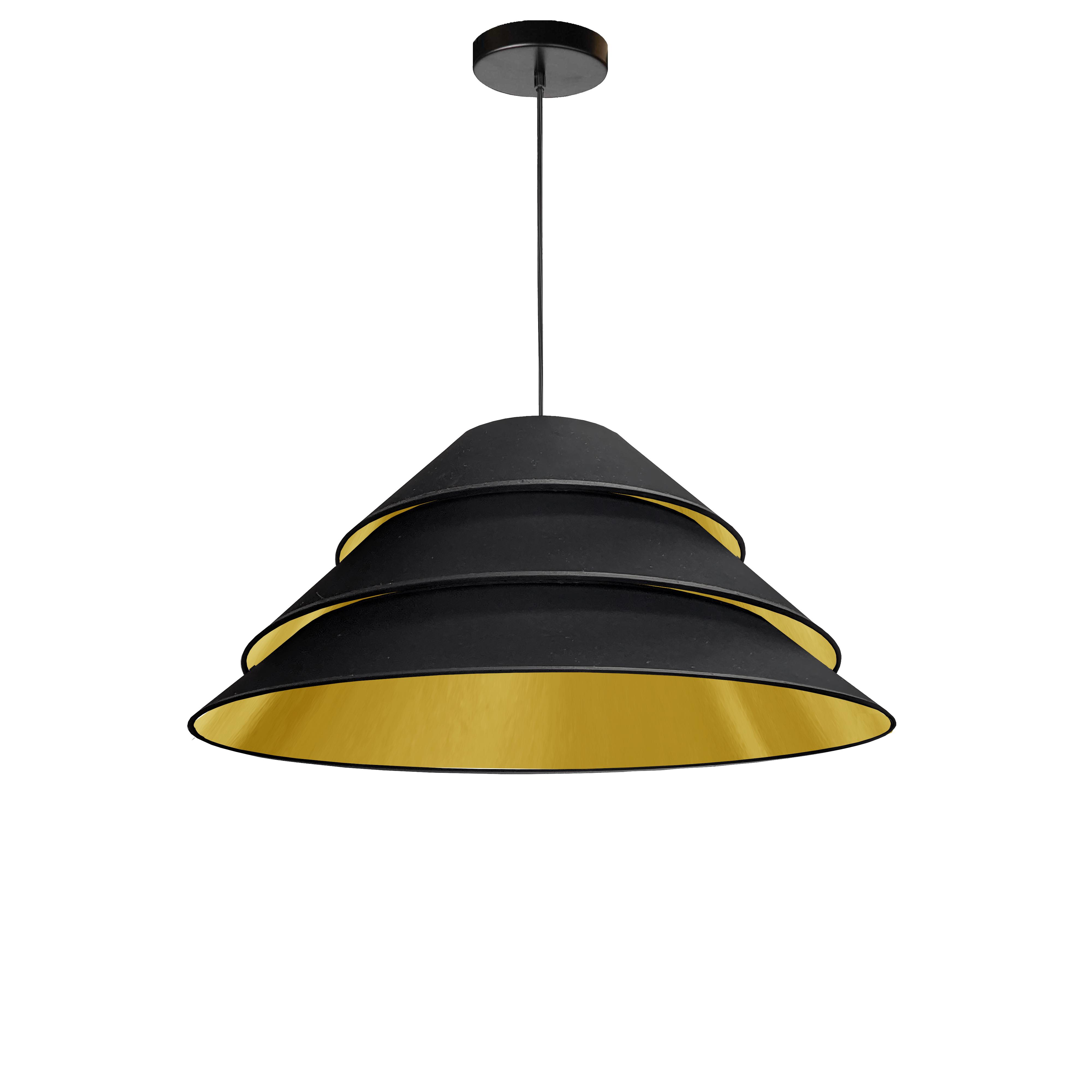 1Light Aranza Pendant, Black/Gold Shade, Black