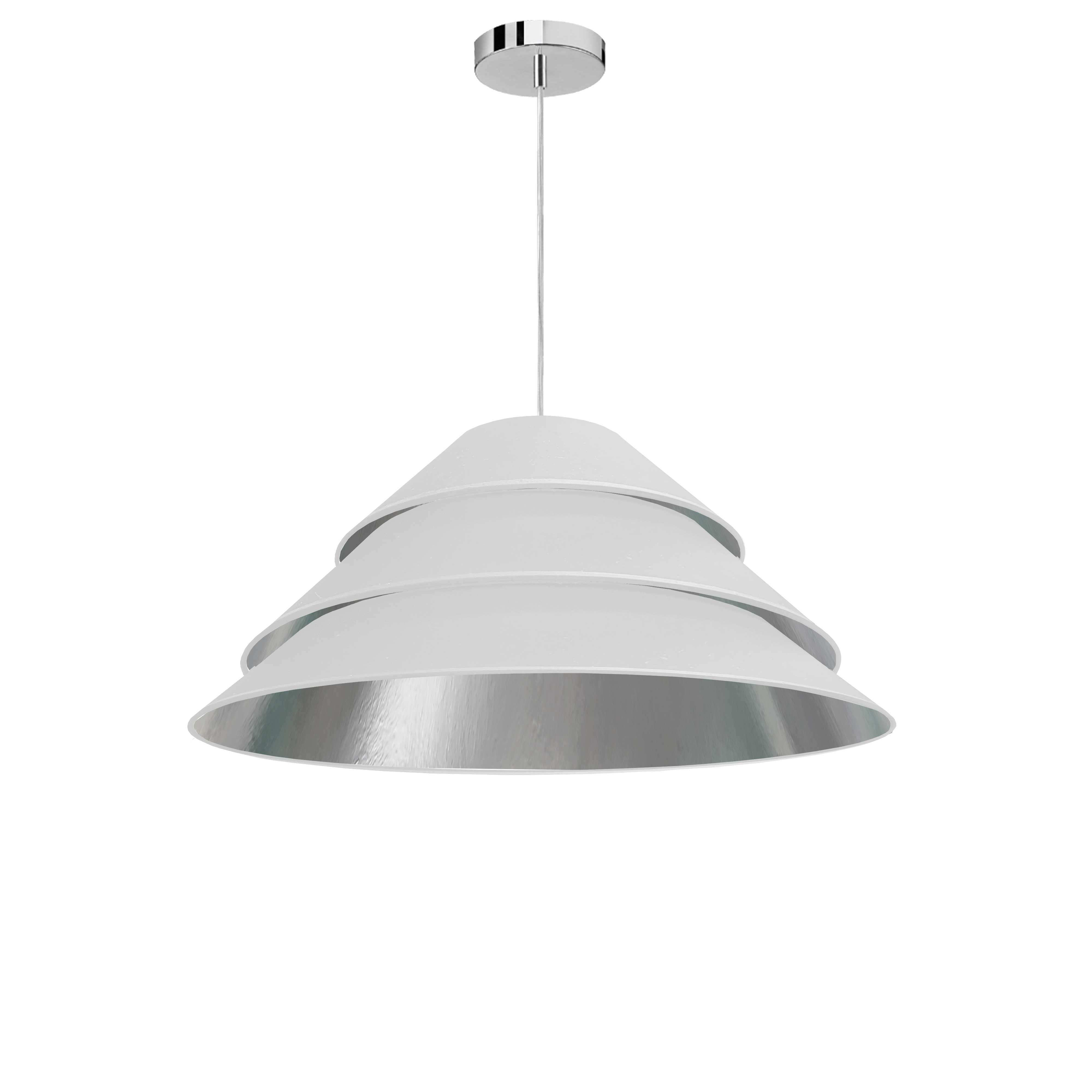 1Light Aranza Pendant, White/Silver Shade, Polished Chrome