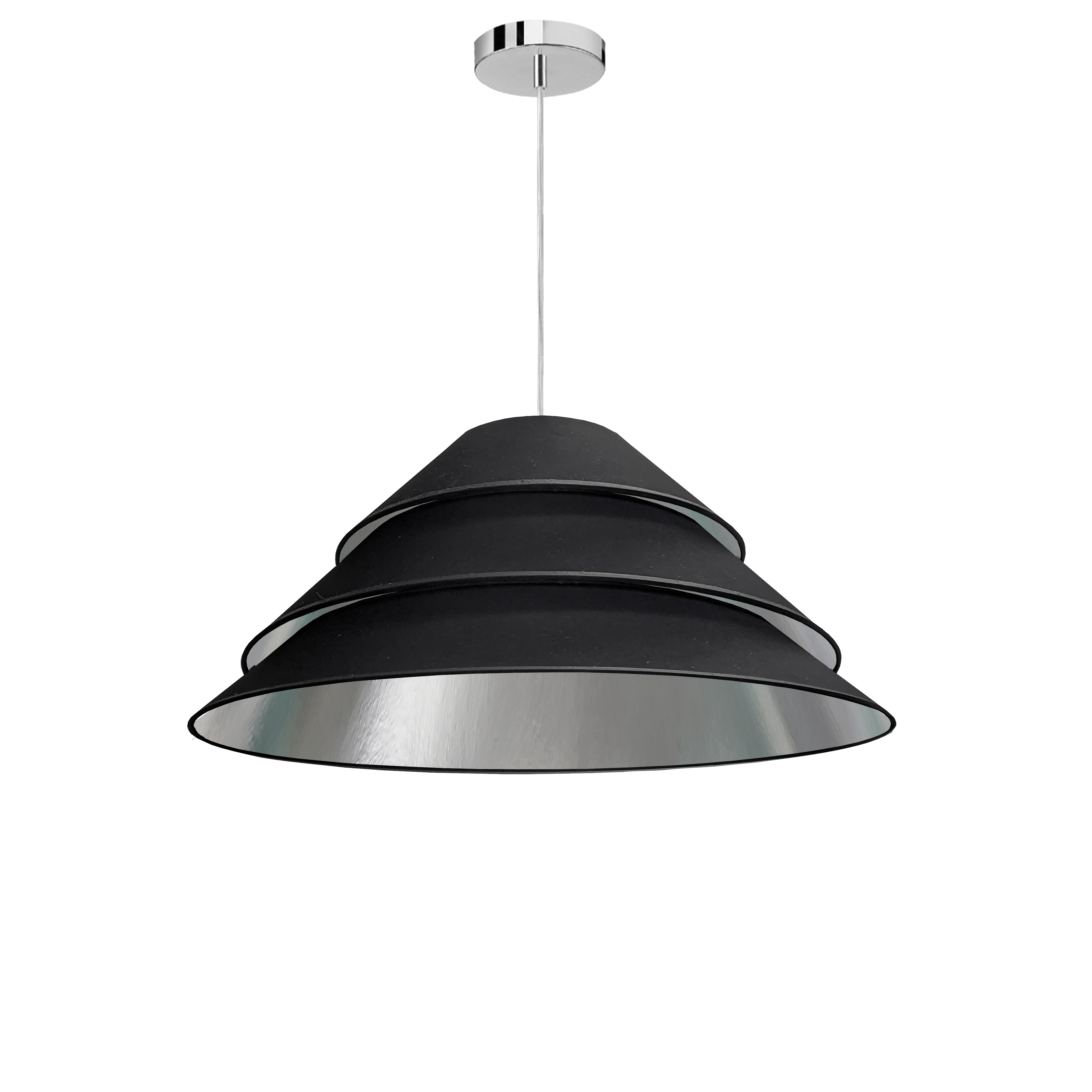 1Light Aranza Pendant, Black/Silver Shade, Polished Chrome