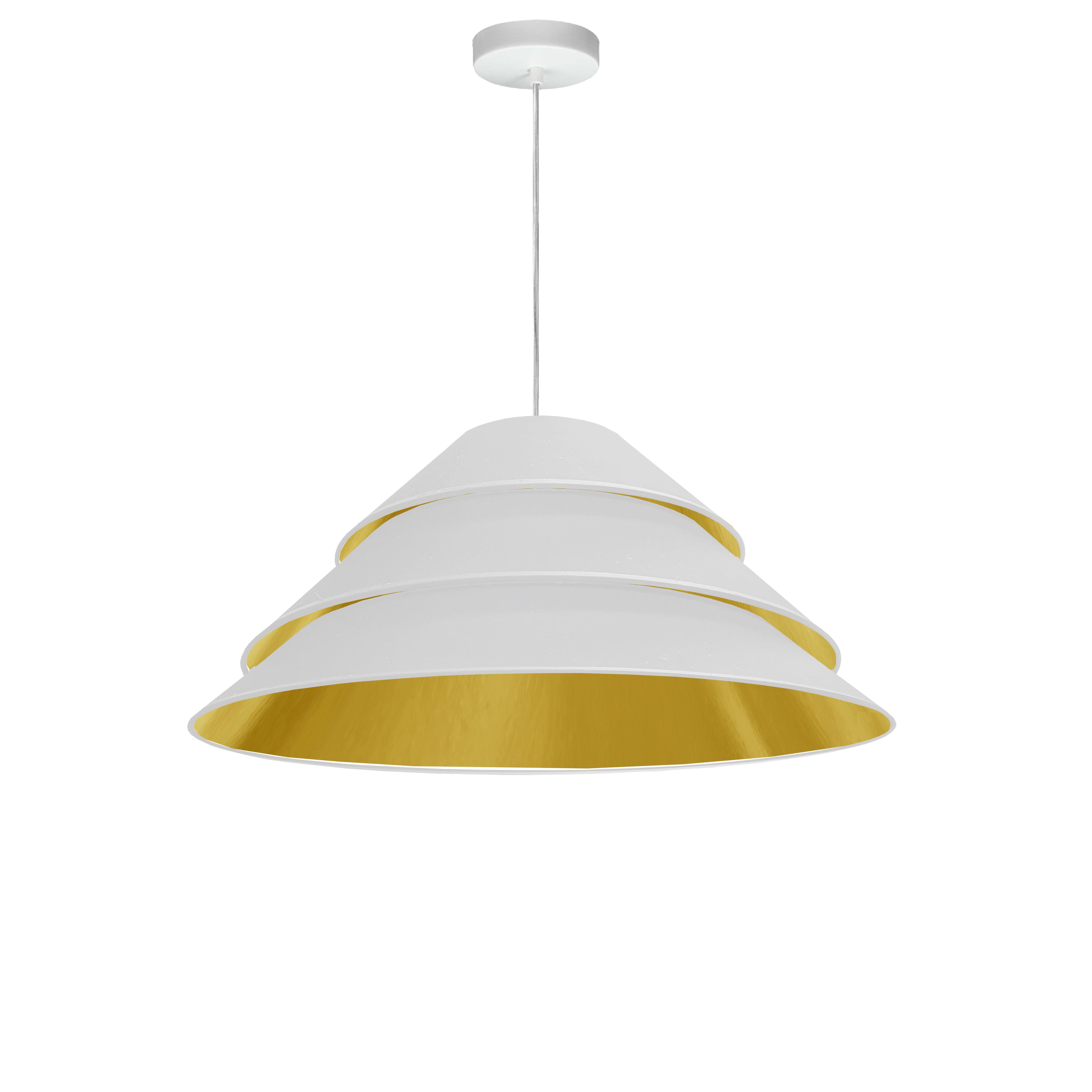 1Light Aranza Pendant, White/Gold Shade, White