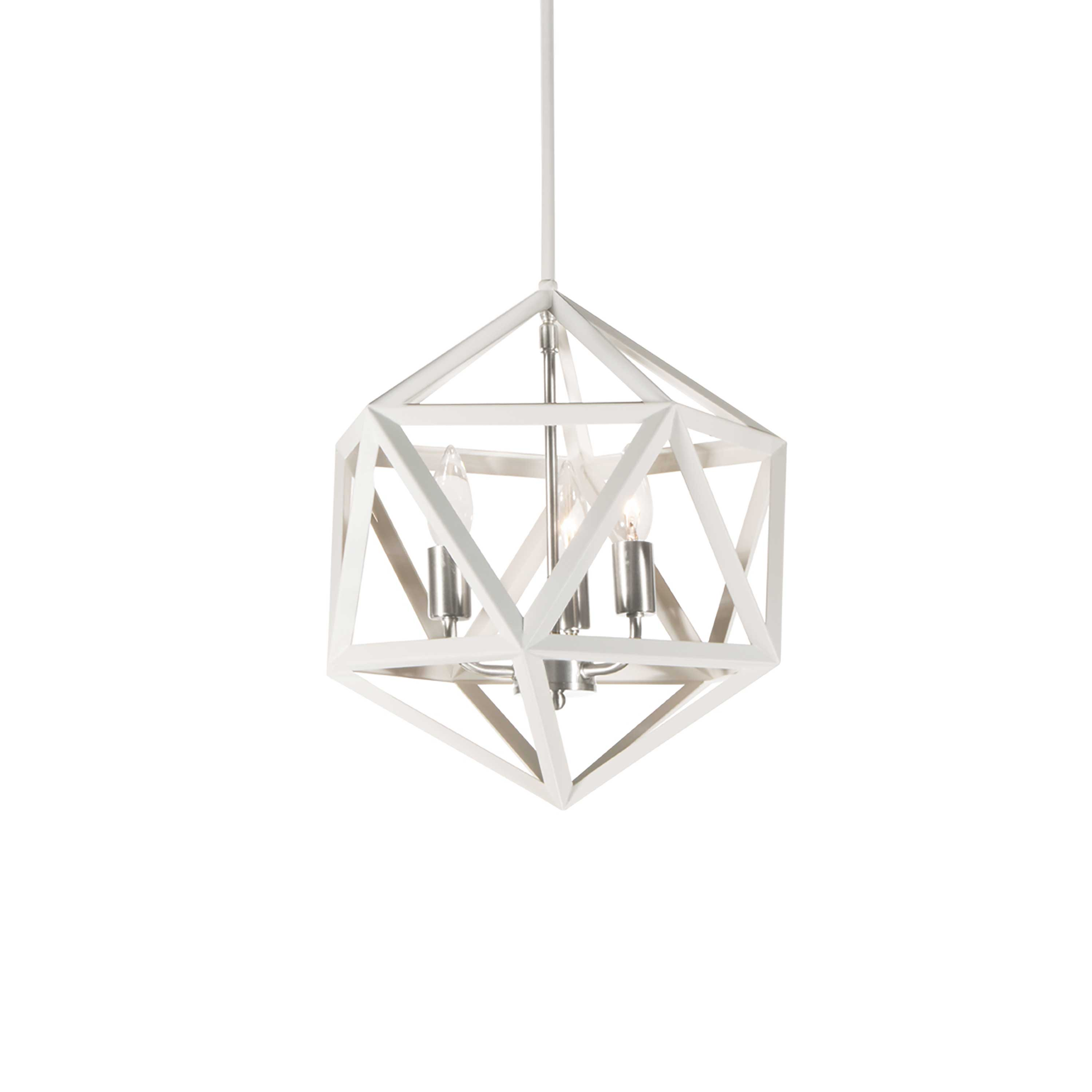 3 Light Chandelier, Matte White with Satin Chrome Accents