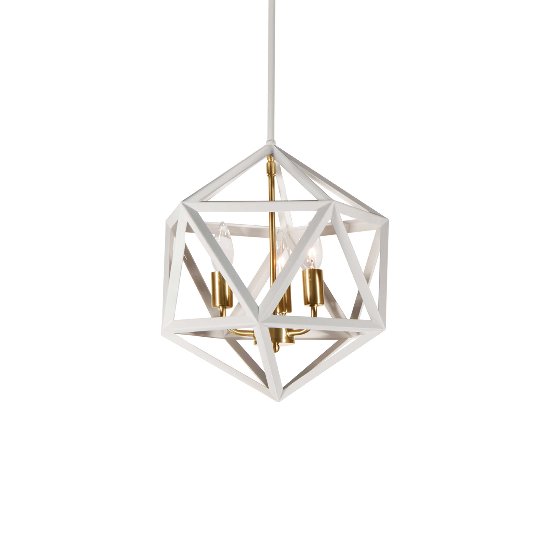 3 Light Chandelier, Matte White with Vintage Bronze Accents