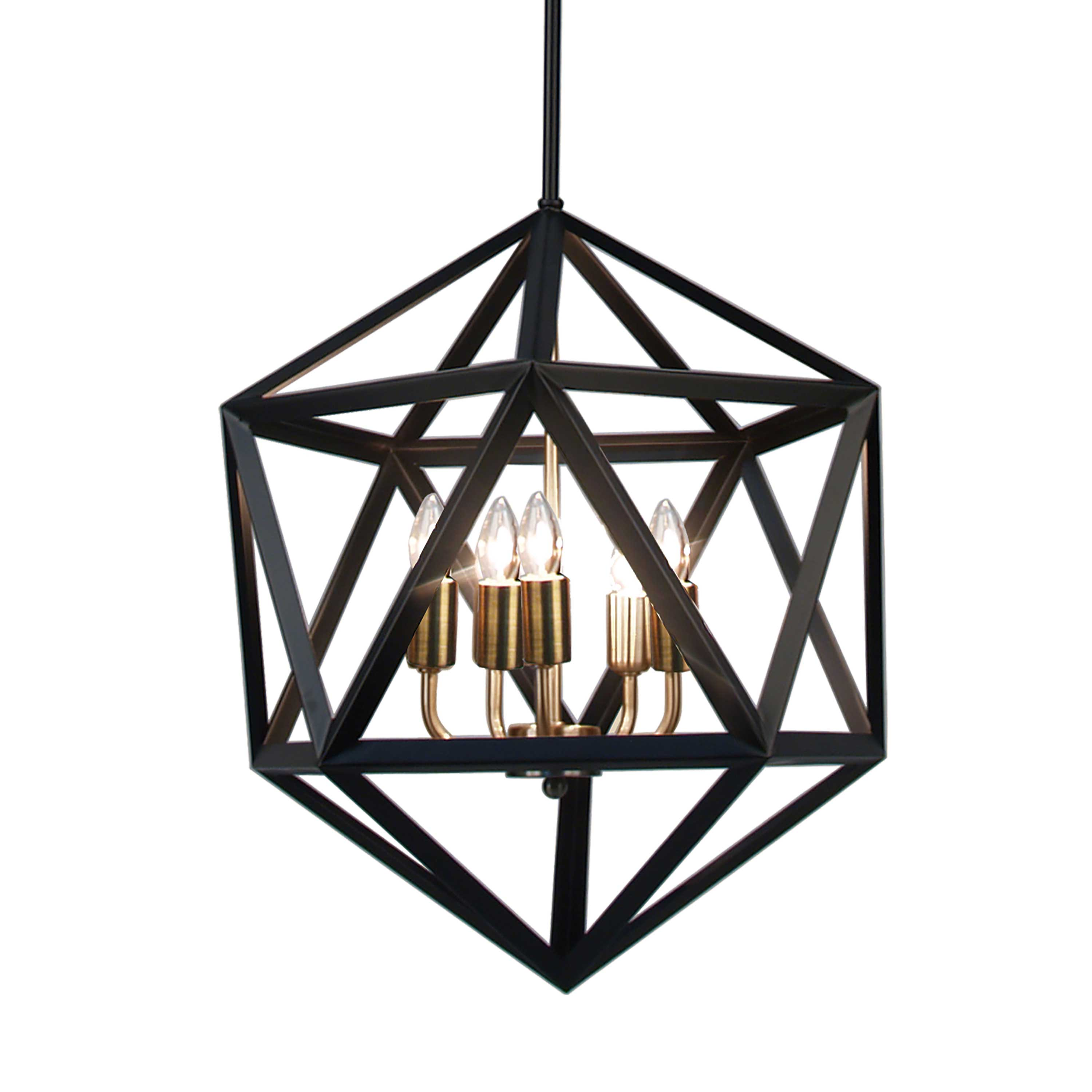 With its arresting design aesthetic, the Archello line of lighting brings a striking note to your home.  The caged construction contrasts a matte black metal frame exterior with a faceted, diamond-like geometry against the reflection of the lights on polished chrome or antique brass finish fixtures inside.  With a look that is inspired by classical designs yet neither entirely old nor new, Archello lighting will become a focal point of both contemporary and traditional design schemes and will create an especially compelling note in a minimalist setting. Available as a flush mount or chandelier.