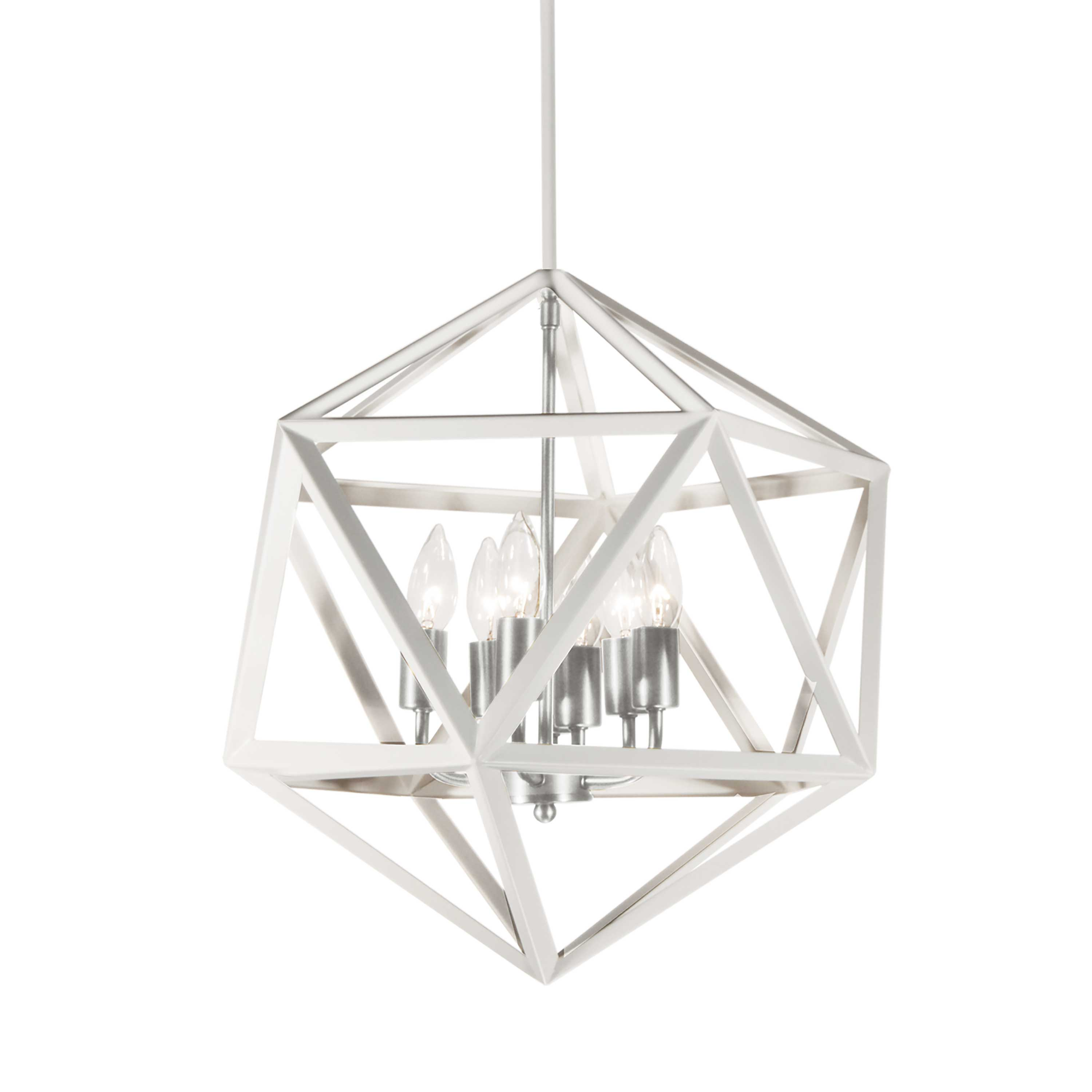 5 Light Chandelier, Matte White with Satin Chrome Accents