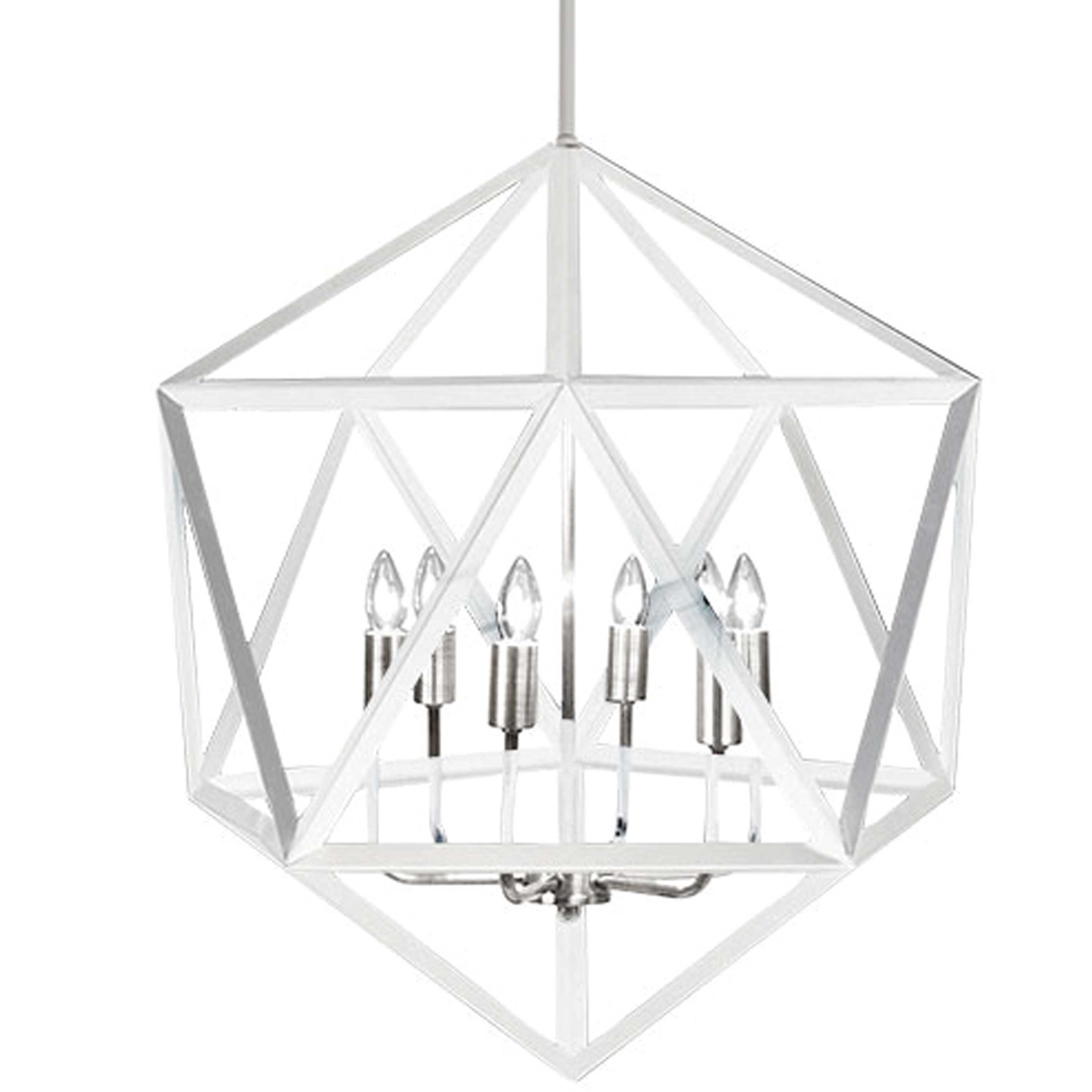 6 Light Chandelier, Matte White with Satin Chrome Accents