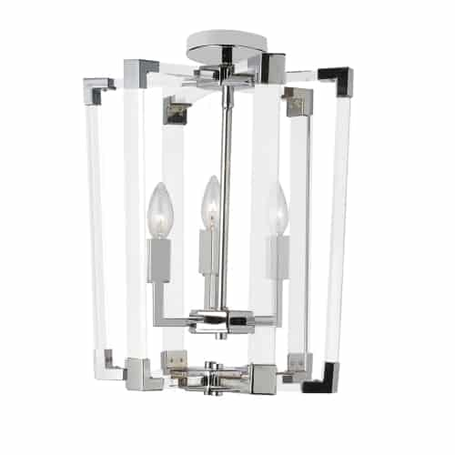 3 Light Incandescent Pendant, Polished Chrome Finish with Clear Acrylic