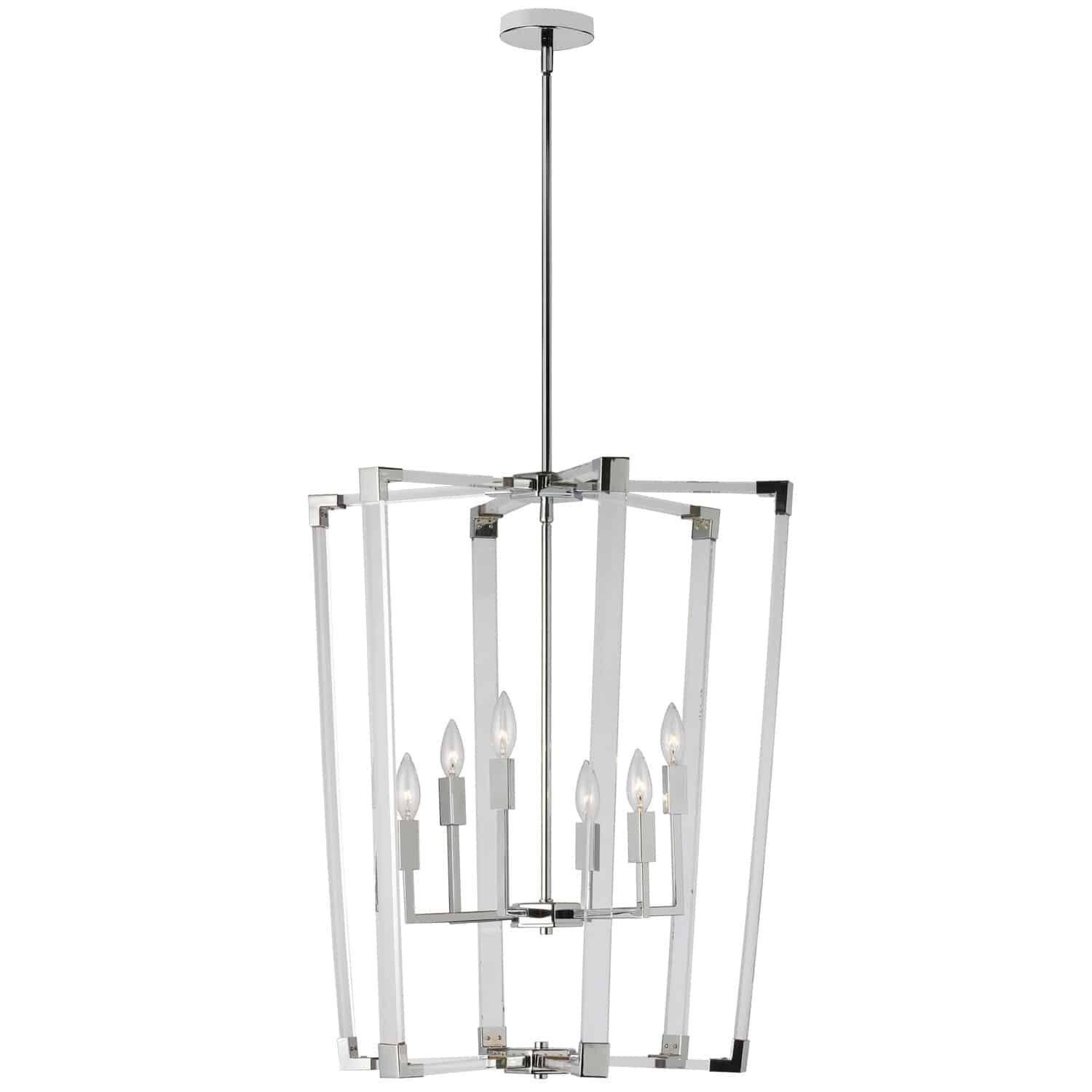 6 Light Incandescent Acrylic Pendant, Polished Chrome Finish with Clear Acrylic Arms