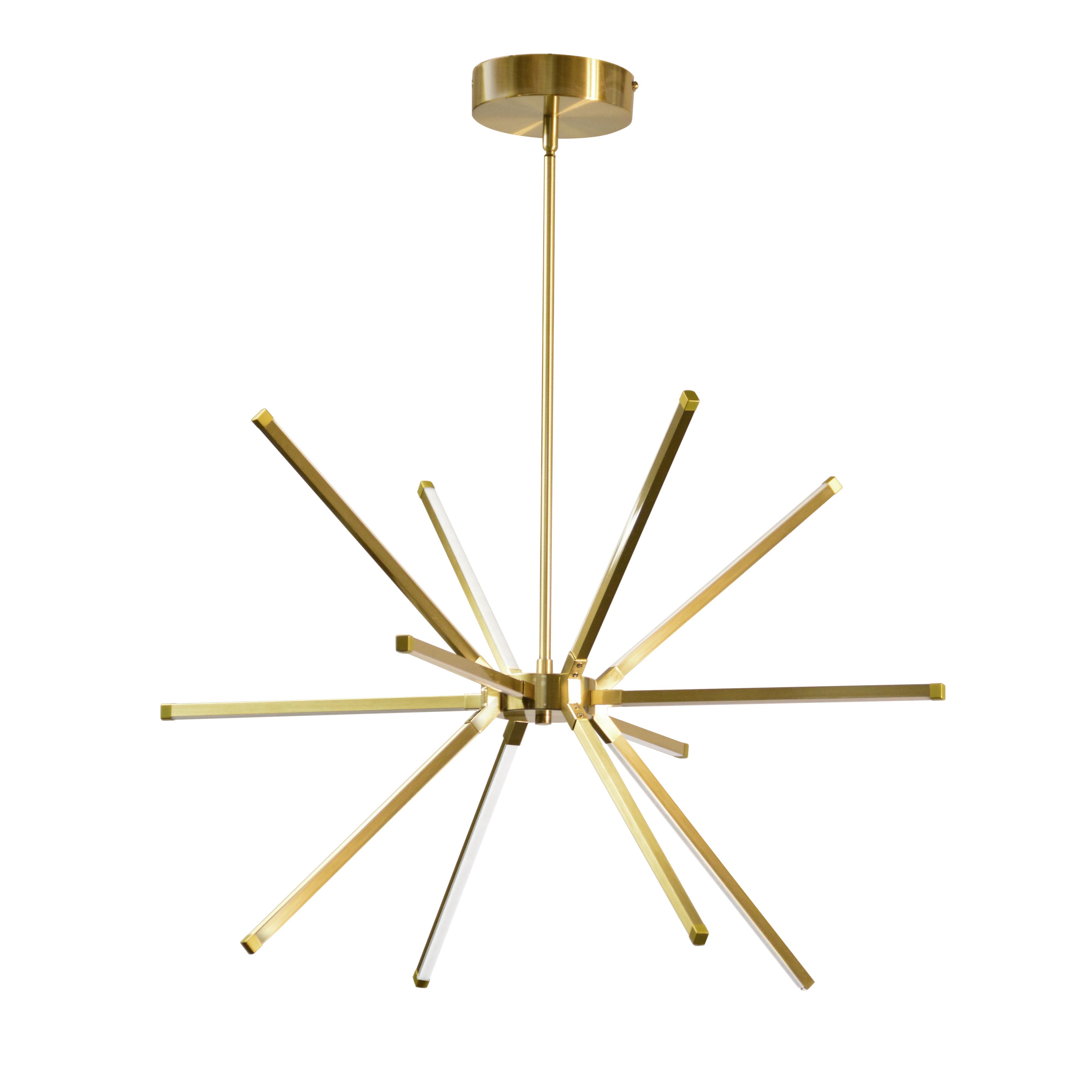 32 Watt LED Chandelier Aged Brass w/ White Acrylic Diffuser