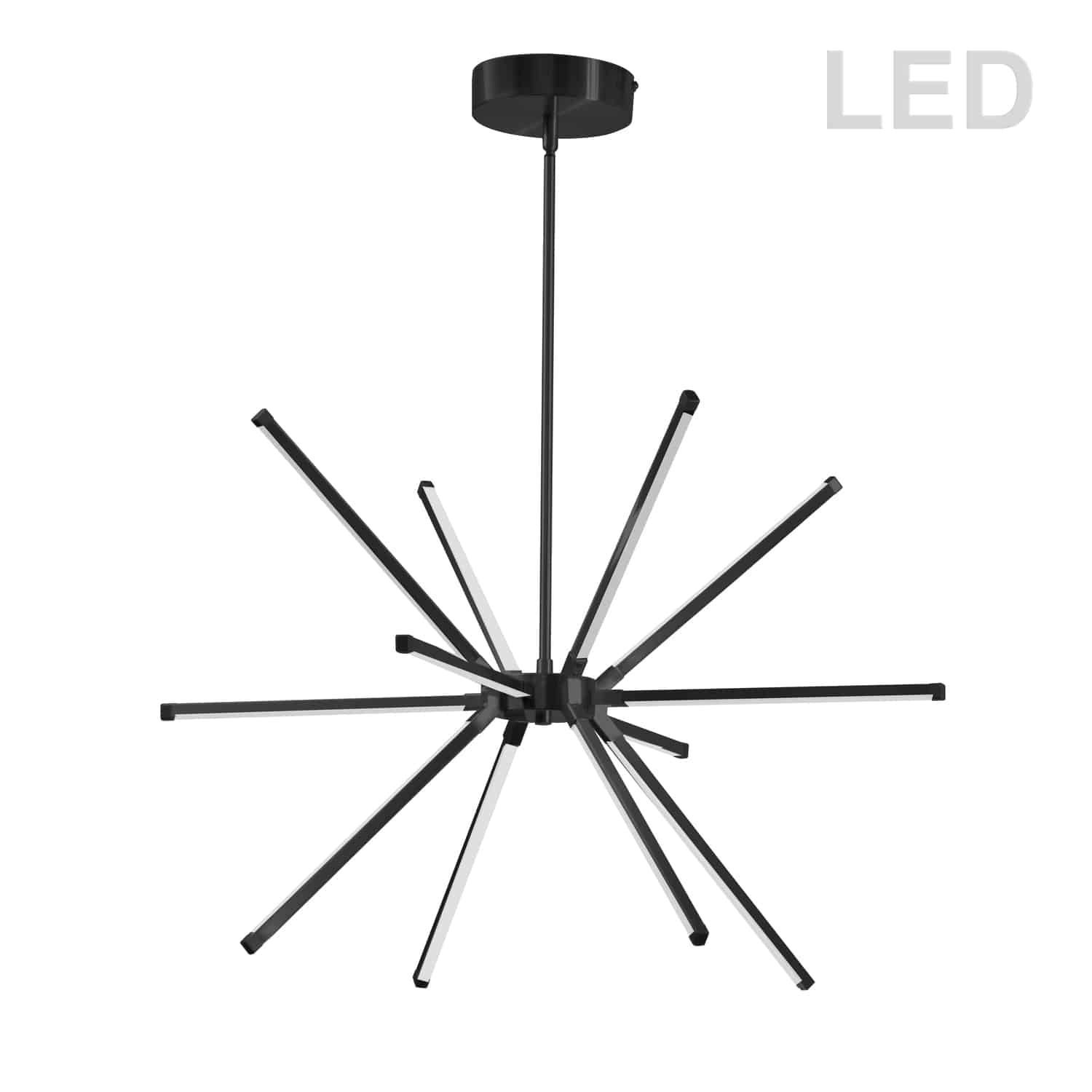 32 Watt LED Chandelier Matte Black w/ White Acrylic Diffuser
