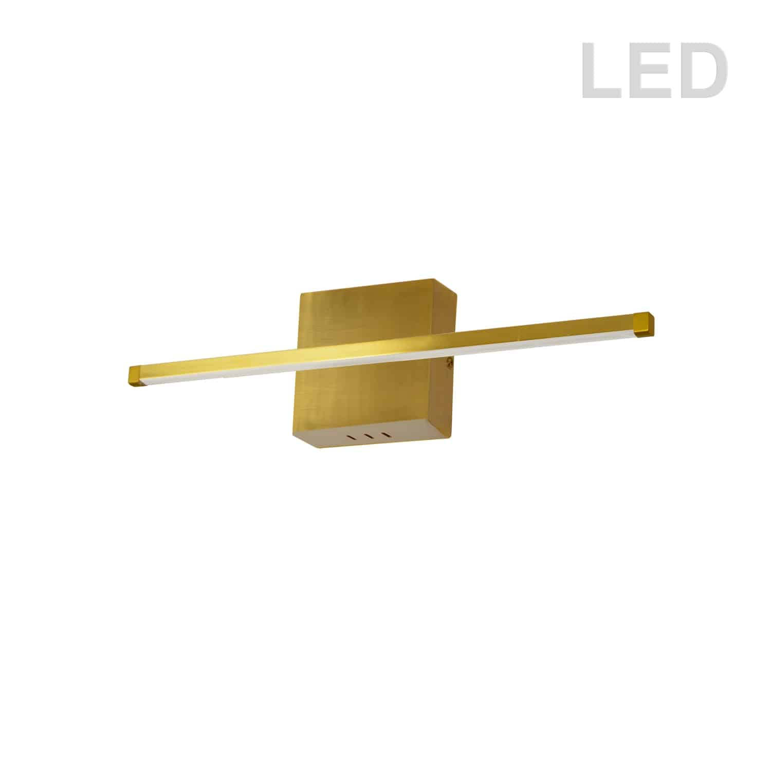 19W LED Wall Sconce, Aged Brass with White Acrylic Diffuser