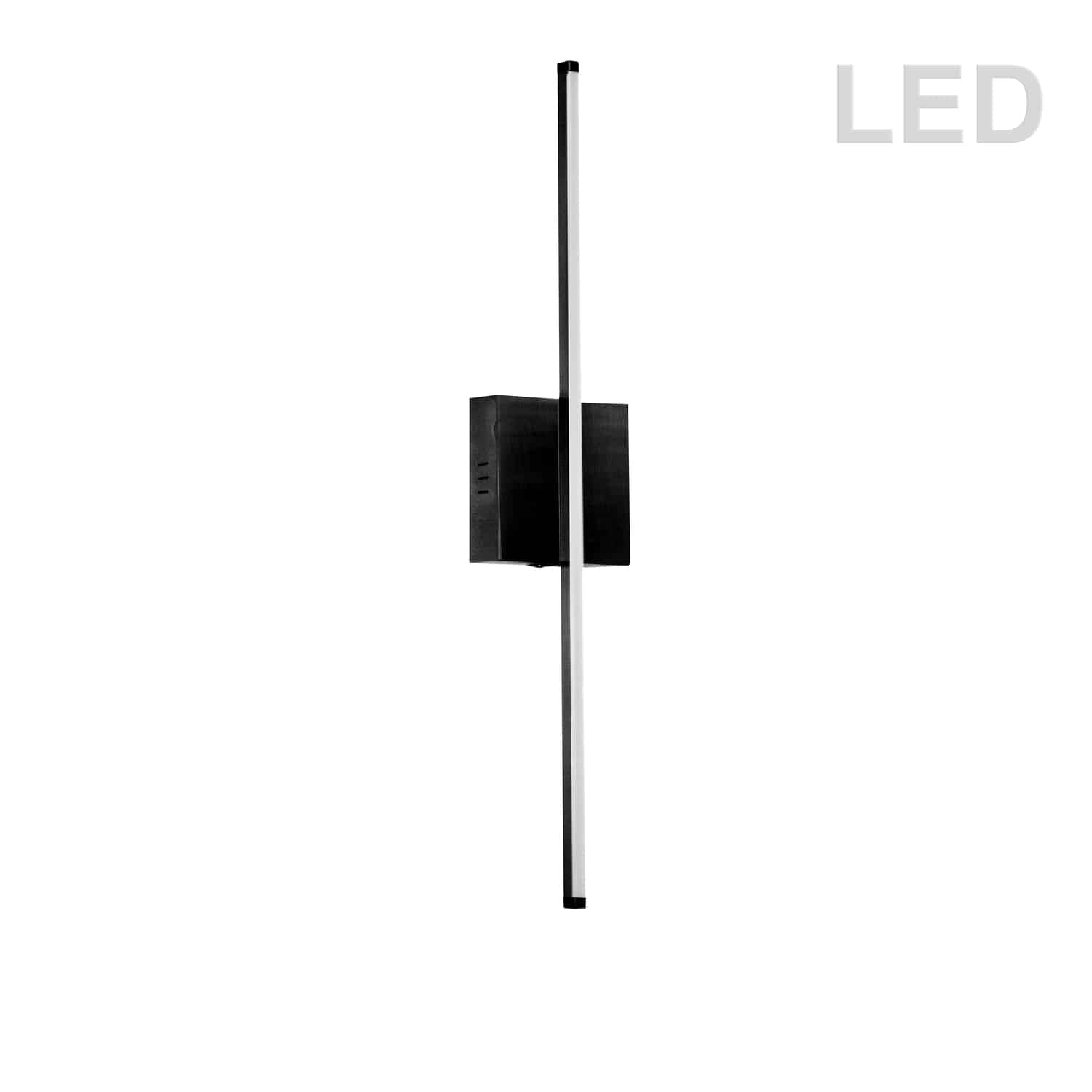 19W LED Wall Sconce, Matte Black with White Acrylic Diffuser