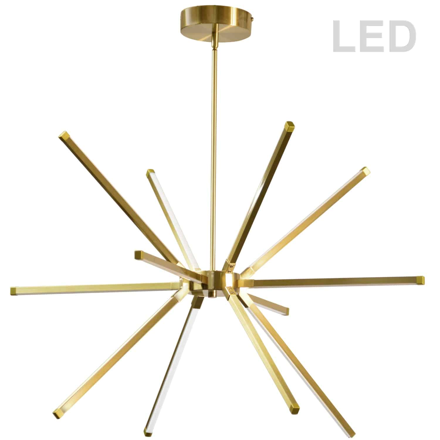 60W LED Chandelier, Aged Brass with White Acrylic Diffuser